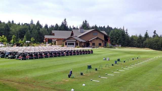 A view of the driving range tees at White Horse Golf Club