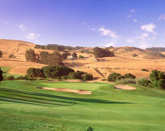 A view of a hole protected by tricky bunkers at La Purisima Golf Course
