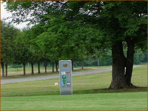 A view of the 18th tee sign at Quail Creek Golf Course
