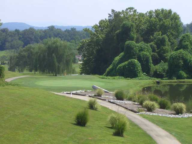 A view of a green with water coming into play at Baileyton Golf Club