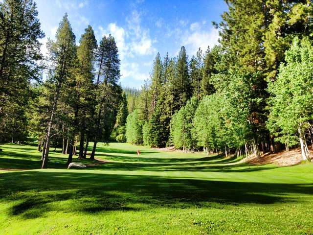 A view of the 14th green at Tahoe Paradise Golf Course