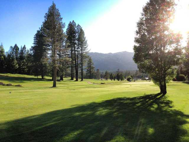 A view of a fairway at Tahoe Paradise Golf Course