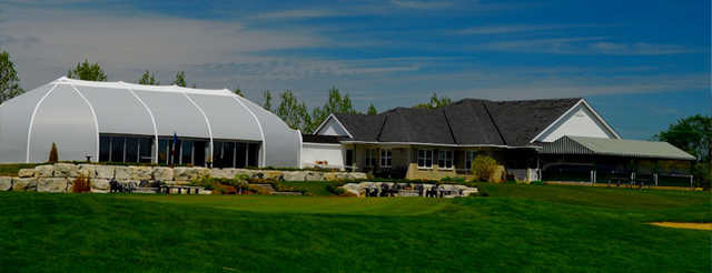 View of the clubhouse at Cardinal Lakes Golf Club