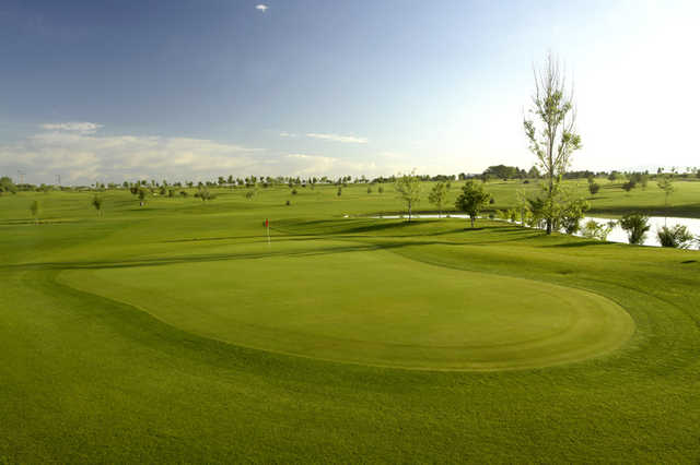 A view of a green at Robin Hood Course from Falcon Crest Golf Club
