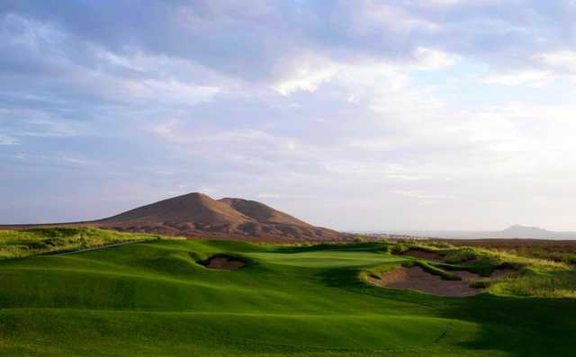 View of a bunkered green at Red Hawk Golf Club