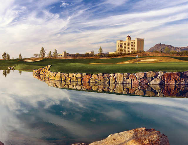 The Casino Del Sol Resort is in view from Sewailo Golf Club's 18th hole