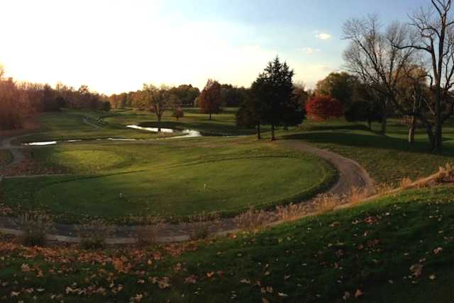 A fall view of a tee at Dye's Walk Golf Course