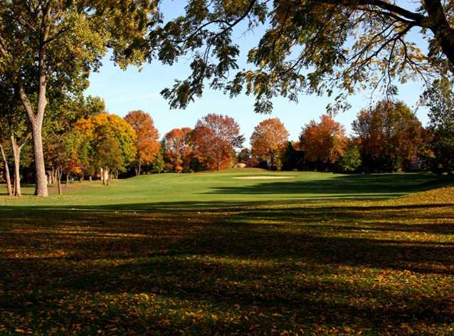 A fall view of a fairway at Harbour Trees Golf Club