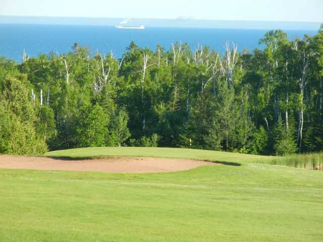 A view of the 14th green at Lakeview National Golf Course