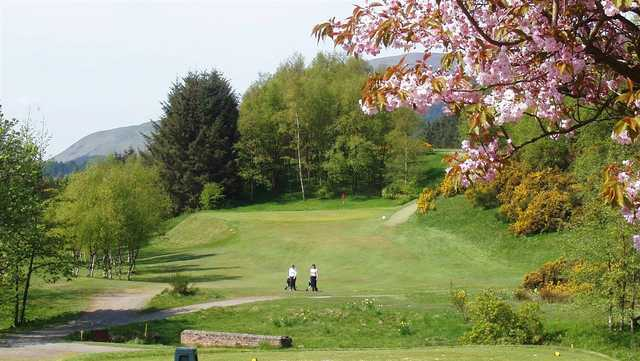 A spring view from a tee at Muckhart Golf Club