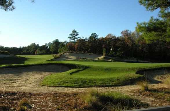 View of the hole #15 behind the green complex at Tobacco Road Golf Club