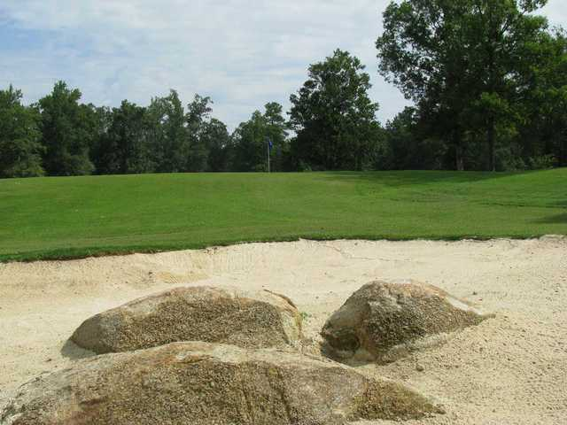 A view over a bunker at Indian Trail Golf Course