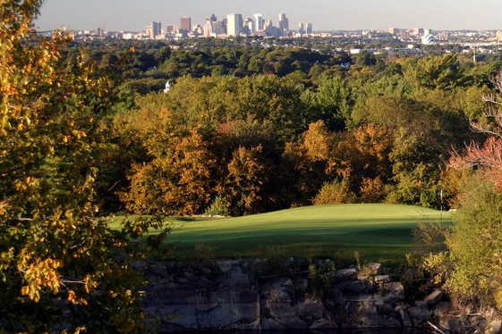 A view over the water of green #8 at Granite Nine from Granite Links Golf Club At Quarry Hills