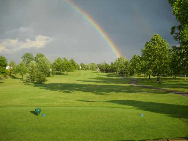 A view from a blue tee at Raccoon Hill Golf Club