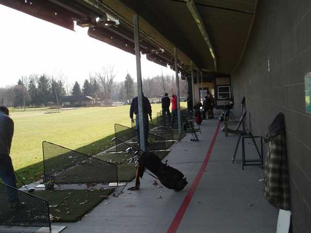A view of the driving range tees at Beech Woods Golf Course