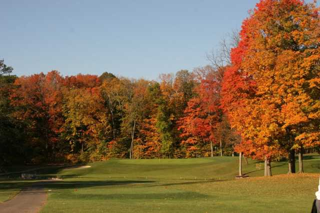A fall view from a tee at Salem Hills Golf Club
