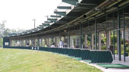 A view of the driving range tees at Family Golf & Learning Center