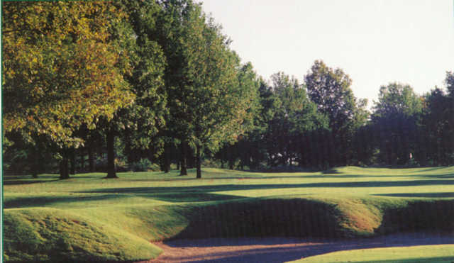 A view over a bunker at Meadowbrook Country Club