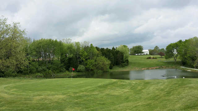 A view of green #7 with water coming into play at Cozy Acres Golf Links
