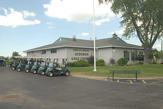 A view of the clubhouse at Amherst Audubon Golf Course