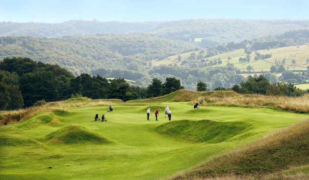 A view of a green at Painswick Golf Club