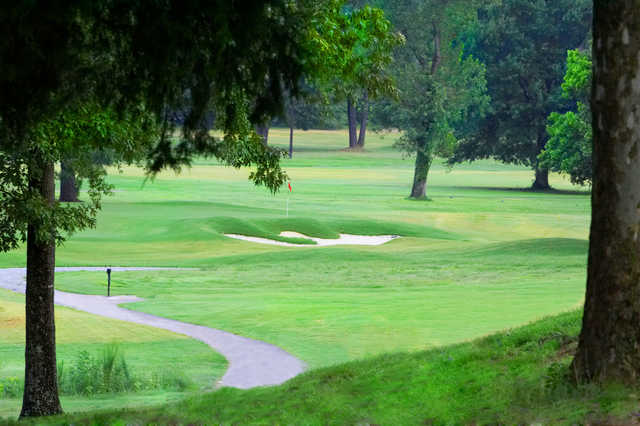 A view of green #12 at Jackson National Golf Club
