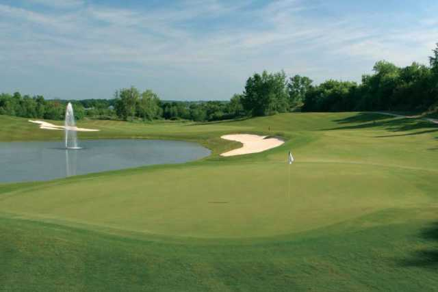 A view of a green with water coming into play at Glendarin Hills Golf Club