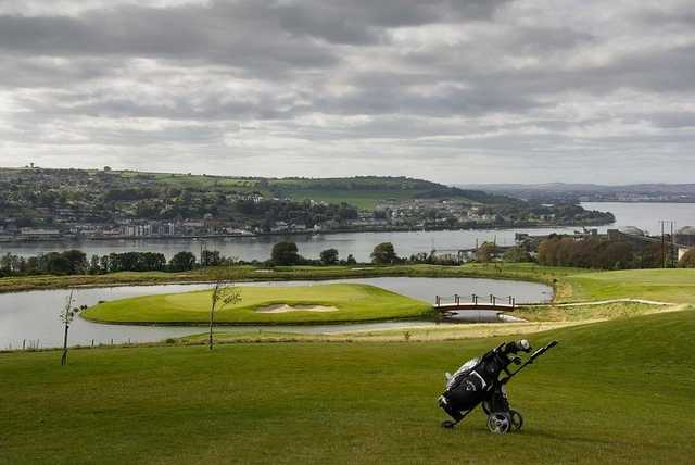 A view of the island green at Cobh Golf Club