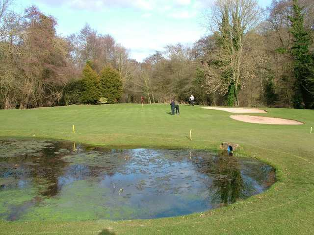 A view of a green with water coming into play at Herefordshire Golf Club
