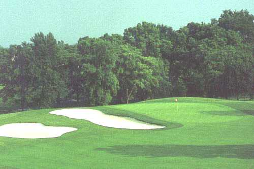 A view of a green protected by bunkers at Bruin Course from The Golf Center at Kings Island (Nicklaus Design)
