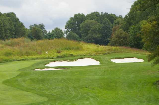 View of a green and bunkers at Hampshire Greens Golf Course