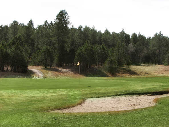 A view of the 1st green at Rocky Knolls Custer Golf Club