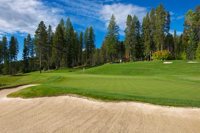 A view of a green at Trickle Creek Golf Course