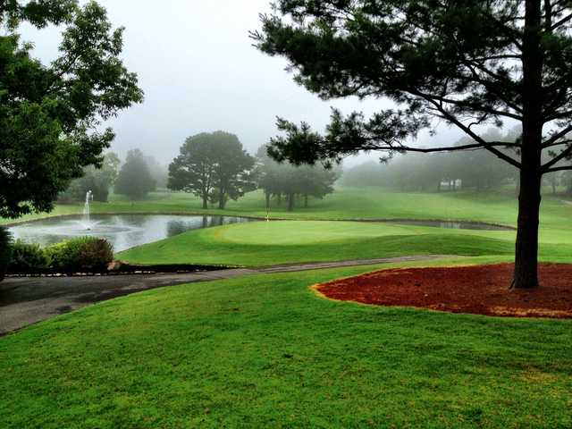 A morning view of a green with water coming into play at Fox Den Country Club (Troy Stavros).