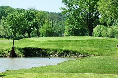 A view from a tee at the Creeks Golf & RV Resort