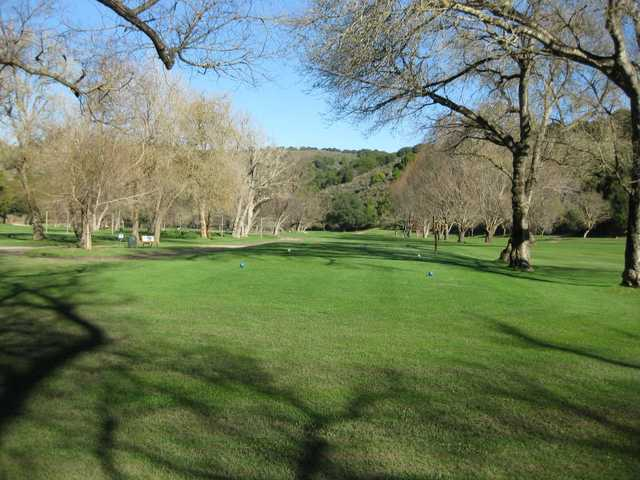 A view from a tee at Redwood Canyon Golf Course