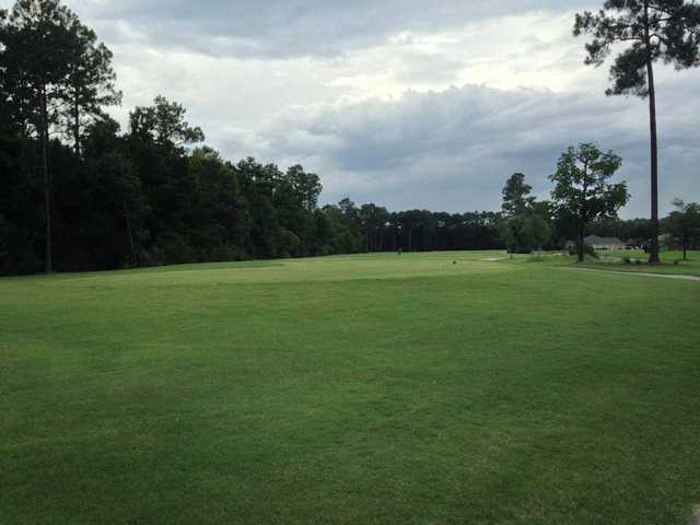 A view of a tee at Laurel Island Links