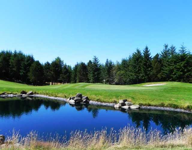 A view over the water of the 2nd green at Trophy Lake Golf & Casting Club