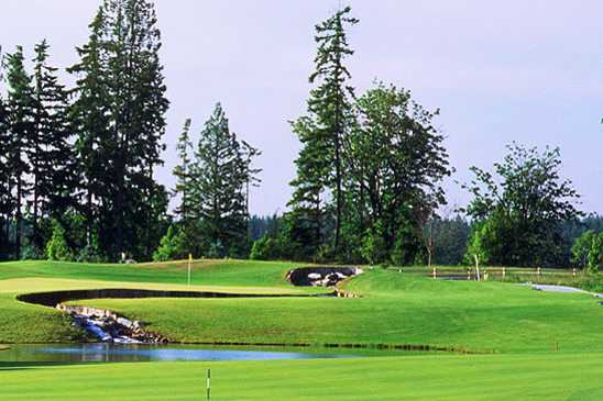 A view of a green at Washington National Golf Club.