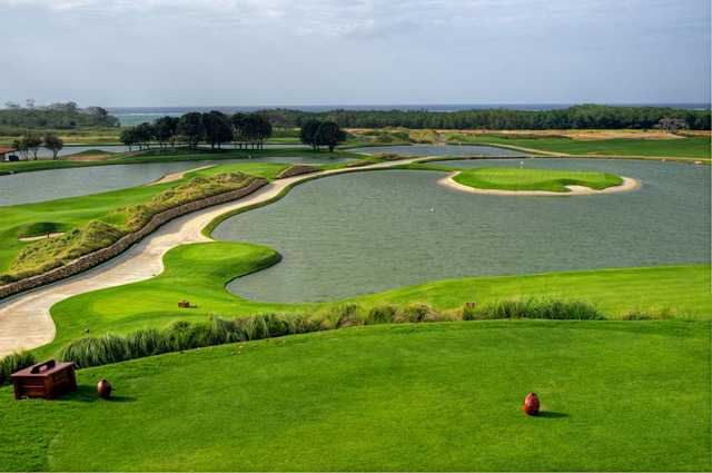 The island green from Black Pearl's par-3 11th hole