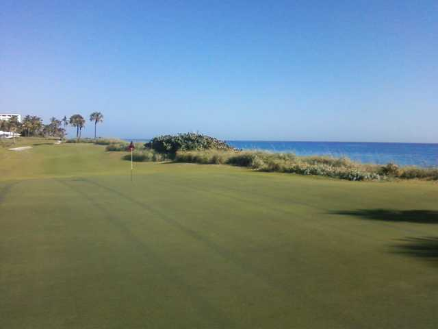 A view of a hole at Palm Beach Golf Course