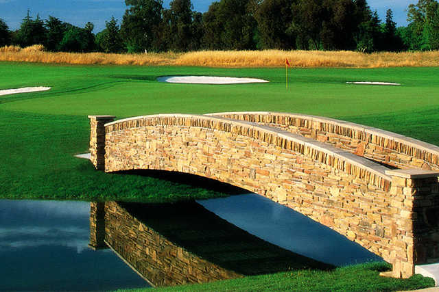 A view over a bridge at Valley Hi Country Club