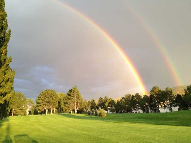 A double rainbow view from a fairway from Ranch at Roaring Fork Golf Course