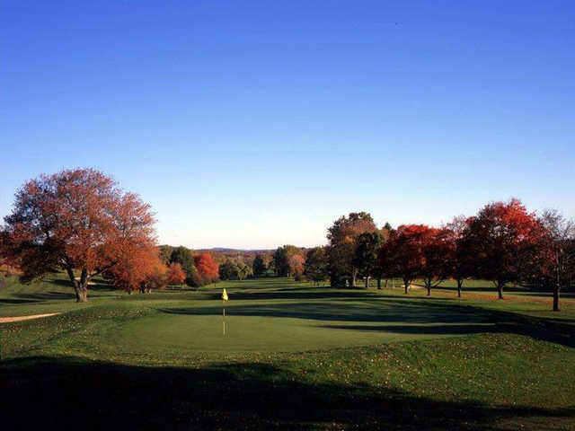 A view of the 9th hole from Green Nine at Tumble Brook Country Club