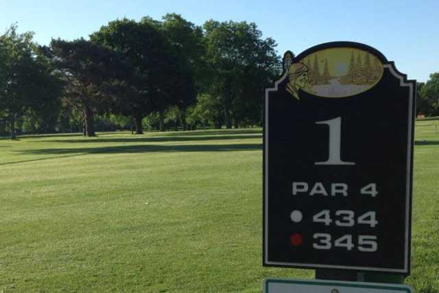 A view from tee #1 sign at Sinnissippi Park Golf Club