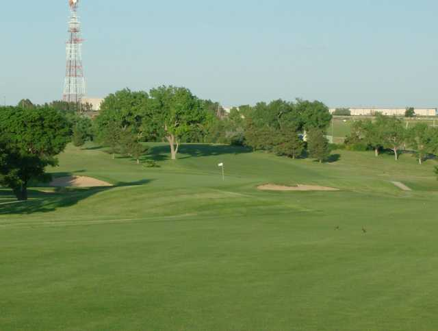 A view of a hole protected by sand traps at Mariah Hills