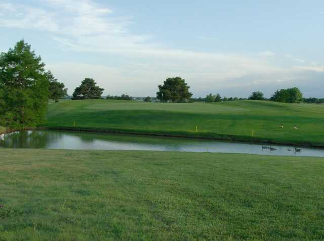 A view of a green with water coming into play at Mariah Hills