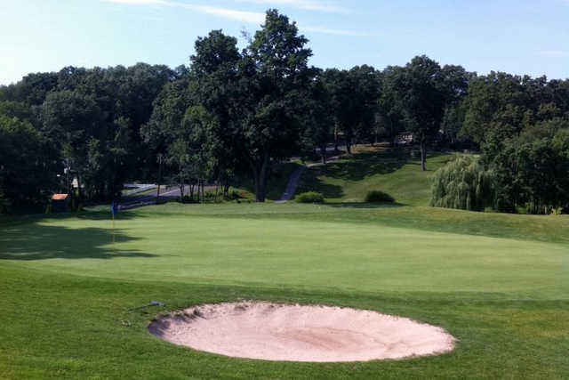 A view of a green at Franconia Golf Course
