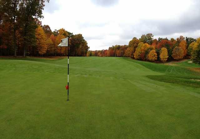 A view of hole #14 at Pilgrim's Run Golf Club