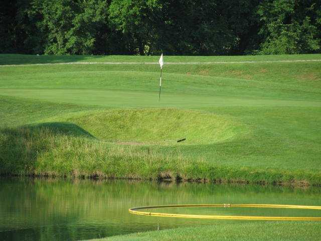 A view over the water of a hole at Posse from Paradise Pointe Golf Complex.